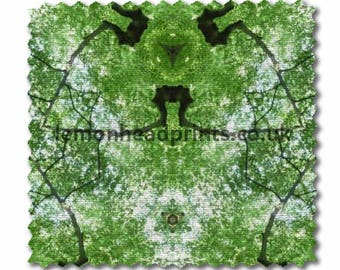 Kaleidoscope abstract tree design in green available on a variety of fabrics