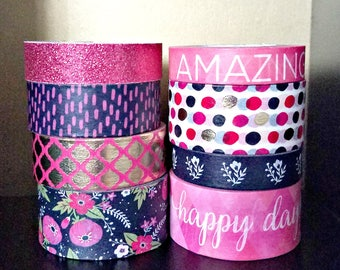 8 Pc. Flowers, Lattice, Dots, Happy Day Awesome Phrases, Glitter Crafting Washi Tapes