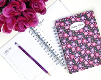 Personalized  2017 - 2018 Daily academic planner / hardback diary, school planner, agenda