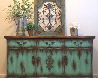 Farmhouse Rustic Buffet Painted Furniture Media Console Patina Turquoise  Aqua