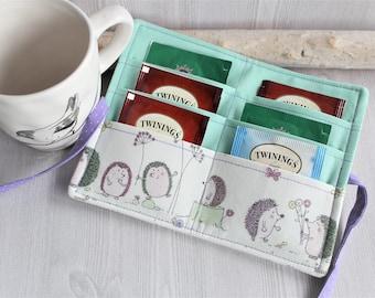 Tea wallet for women, Hedgehog print tea bag holder, handmade tea organzier, travel wallet for tea bags, womens gift ideas
