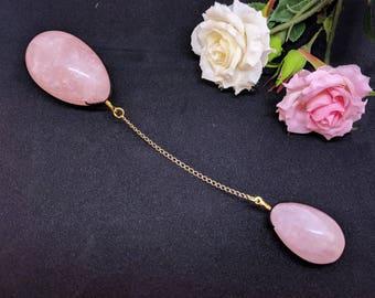 Quartz rose yoni oeuf intime bijoux avec pendentif, prise de chatte décoration, jouets érotiques Sexy coquin, ensemble de deux roses, amour Pierre de jade, Mature