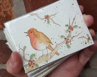 """Robin #1 with berries, ACEO (3.5"""" x 2.5""""), Artist Trading Card, original ink and watercolour painting"""