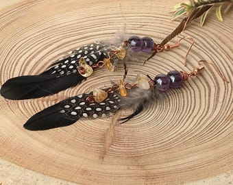 Citrine Feather Boho Earrings - Feather Earrings - Natural Feather Earrings - Real Feather Earrings - Citrine Earrings - Gemstone Earrings