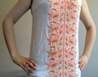 Early 60's Union Made White Embroidered Iconic Boho Shift Dress, Size S