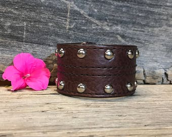 Upcycled Leather Cuff with Silver Details, Women's Brown Leather Cuff Bracelet, Boho Leather Cuff, Western Leather Cuff, Rustic Bracelet