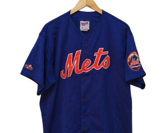 Hot Sale!!! Rare Vintage 90s New York METS MLB Embroidery Big Spell Out Button Down Jersey Hip Hop Skate Swag Made In USA Extra Large Size