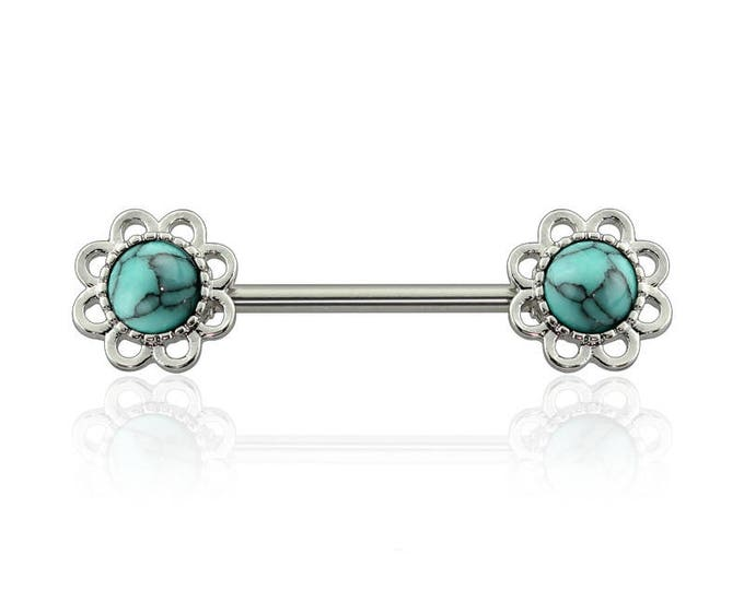 316L Surgical Steel Turqoise Stone Flower Nipple Barbell