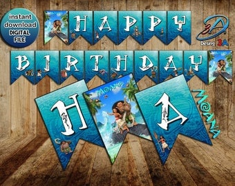 Moana Banner, Moana Banner Happy Birthday, Moana Birthday, Moana, Vaiana, Princess Moana, Moana party.