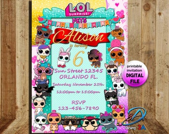 LOL surprise pets, LOL, Lol pets invite, lol surprise party, lol, lol invitation, lol doll, lol party, lol birthday, lol surprise, lol pets