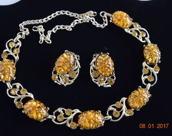 Vintage Necklace & Earrings, Gold Tone, Amber Stones