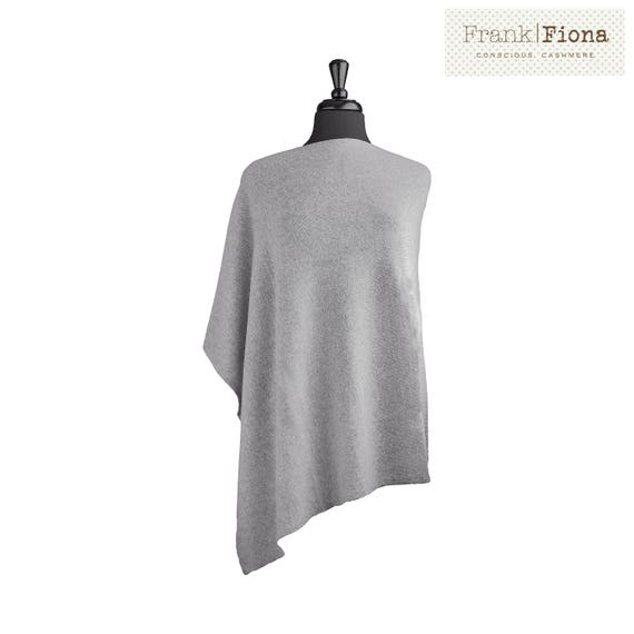 100% Organic Cashmere Poncho, Grade A Mongolian Cashmere, Christmas present, 28x28inches,Light Gray,Knitted,Cozy Winter Coat,Eco Friendly,PB