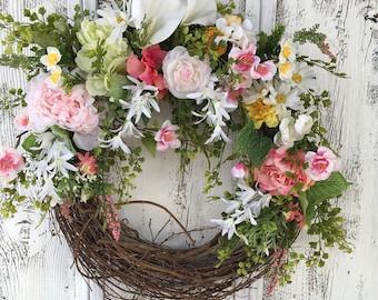 A Pretty and Pink Spring Wreath, Garden Summer Wreath, Door Hanger, Everyday Wreath, Front Door Wreath, Wall Wreath, Fireplace Wreath