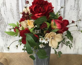 Red and Cream Spring Floral Arrangement in Galvanize Tin, Summer Arrangement, Wedding Centerpiece, Table Decor, Wedding Decor