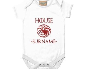Game of Thrones Personalized Name House Targaryen Baby Bodysuit Custom BabyGrow Cute Game of Thrones Baby Shower Gift