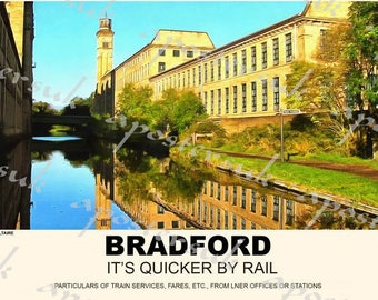 Vintage Style Railway Poster Bradford Saltaire A3/A2 Print
