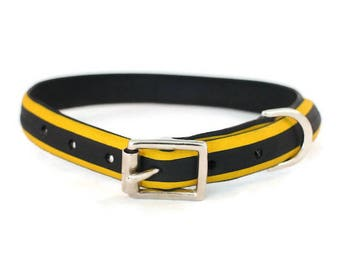 Upcycled/Recycled/Handmade/Yellow & Black/Tyre Dog Collar/Tire Dog Collar