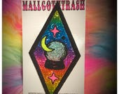 Rainbow whimsy crystal ball iron on patch