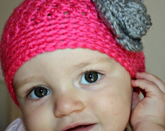 Crochet Baby Hat - Baby Girl Hat, Newborn Hat, Baby Girl, Coming Home Outfit, Hat with Flower, Baby Shower Gift, Newborn Photo Prop, Pink