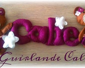 Guirlande  theme ourson coloris blanc et violet