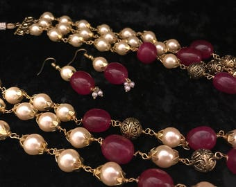 Natural Rock Royal Necklace & Earrings