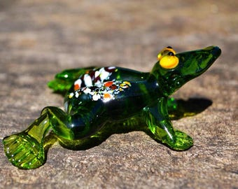 Green glass frog figurine animals glass frog sculpture art glass toy murano frog animals tiny small frog gift animals figures toys