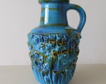 Fat Lava. Retro 1970 Fat Lava Vase 587 25  . Carstens Tonnieshof West German Fat Lava Vase. Blue 1970 Fat Lava Vase.  Carstens. West G