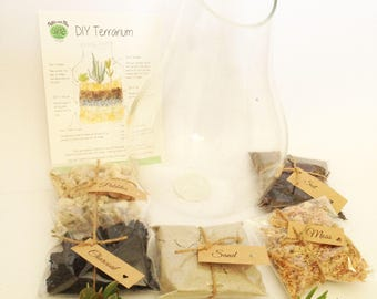 Angle cut glass terrarium DIY Kit, christmas gift for her, miniature garden, succulent terrarium
