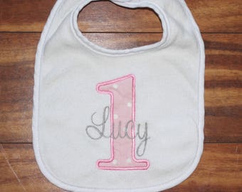 First Birthday bib personalized bib first birthday girl first birthday Name bib birthday bib Pink bib polka dot bib pink and silver bib