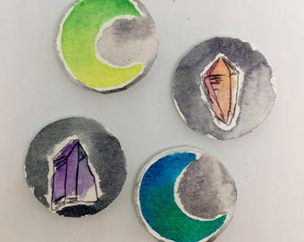 Watercolor fridge magnets, watercolor art, watercolor crystal, crystal magnets, moon art, crescent moon magnets, watercolor decor art