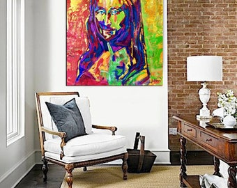 Mona LISA Painting, Large Abstract Painting on Canvas, ORIGINAL, Portrait La Joconde Art Paintings, Pop Art Painting, Home Decor, Colorful