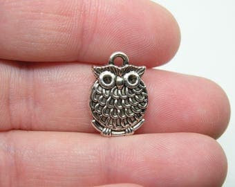 16 Silver Tone Owl Charms. B-025