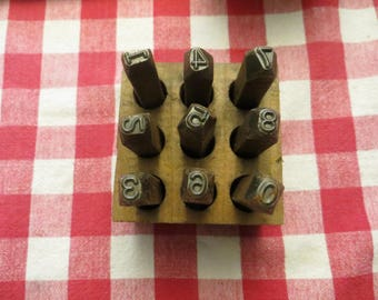 """Vintage Metal 1/4"""" Number Stamps, heavy duty w/ free ship"""