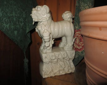 Large Ceramic Foo Dog,  Ceramic Lion Sculpture, Standing White Komainu, Guardian Lion