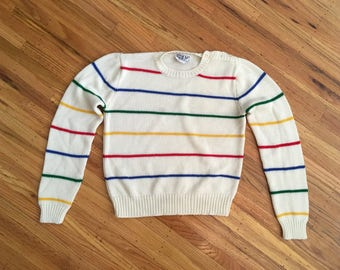 Spring Sale - Vintage 1980's rainbow striped sweater