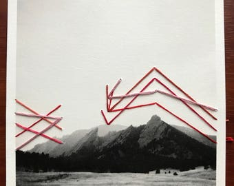Abstract Mountains 2 - Mixed Media - Hand Embroidered Photograph