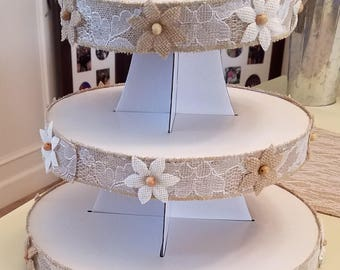 3 Tier Cardboard Burlap Laced Decorated Cupcake Stand