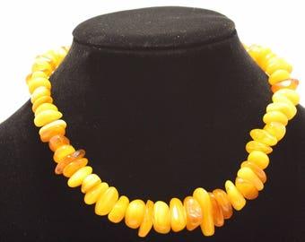 DISCOUNT! Antique Vintage BALTIC Amber beads EGG Yolk necklace
