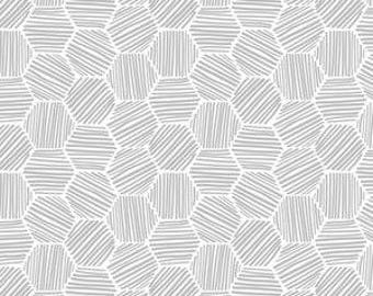 """Fabric Remnant - Hatchmarks in Gray - Cloud 9 Organic Knit Collection - Cloud 9 Organics - 30""""x12"""""""