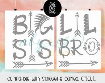 Big Sis, Lil Bro SVG, tribial SVG, Boho Svg, DXF, Png, cut files, Cricut, Silhouette, cameo, arrow svg Big Sister Little Brother