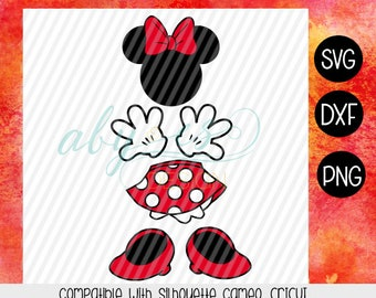 MiNNIE RED Body SVG, Short, head, shoes, gloves, disney svg, Png, Dxf, Silhouette, Cameo, Cricut MInnie clipart, Minnie parts SVG Cut files