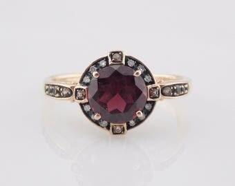 Garnet Ring, Rose Gold Ring, Garnet And Diamond, Rings, Vintage Ring, 10k Rose Gold 2.65 TCW Rhodolite Garnet Diamond Ring Sz 7 #3136
