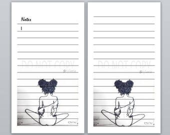 Notes sheet with curly girl