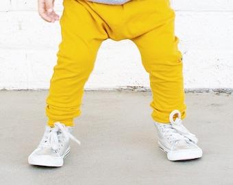 Baby Leggings - Toddler Leggings - baby pants- Baby Joggers - toddler harems . mustard pants - Baby Clothes - s