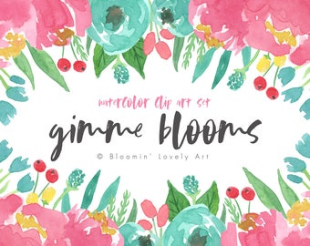 Watercolor Flower Clipart - Watercolor Flowers Clip Art - Watercolor Flower Clip art - Floral clip art set
