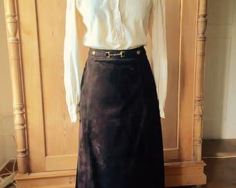 1970s celine chocolate brown suede skirt suit.