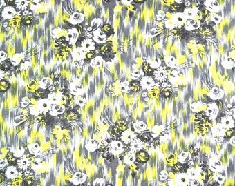 vintage 1950s floral bouquet print cotton sateen dress fabric