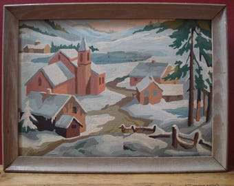 Vintage Original Early Framed Paint By Numbers Winter Village Scene with Snow Covered Church and Buildings, ca. 1950's
