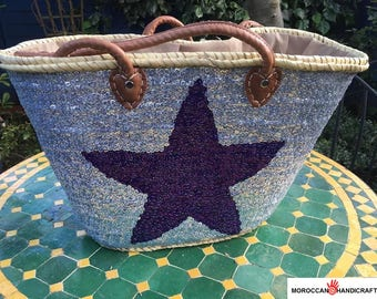 Handmade silver sequin french basket with purple star