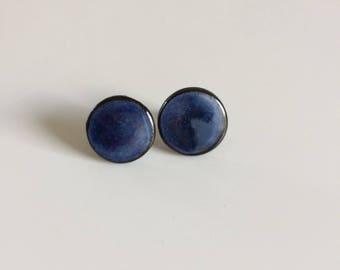 Stud Earrings, blue, round, ceramic, studs, earrings, blue, ceramic